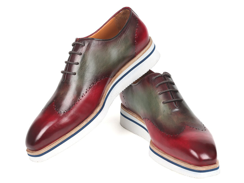 Paul Parkman Smart Casual Wingtip Oxfords Bordeaux & Green - 187-BRD-GRN