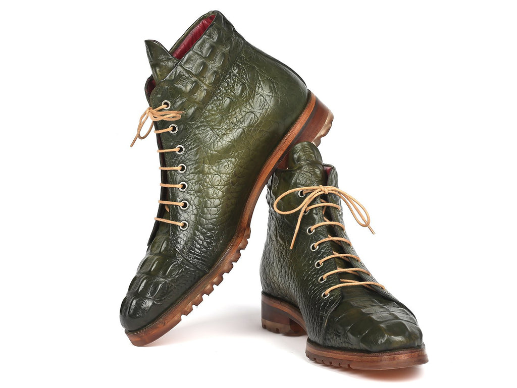 Paul Parkman Green Croco Embossed Leather Boots - 12811-GRN