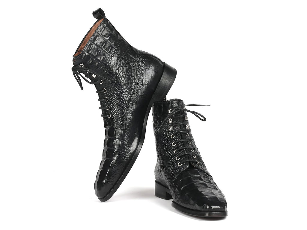 Paul Parkman Black Croco Embossed Leather Lace-Up Boots - BT744-BLK