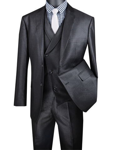 Vinci Modern Fit Shiny Sharkskin 2 Button 3 Piece Suit (Black) MV2R-1