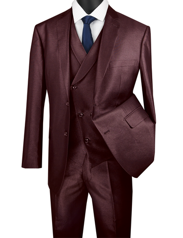 Vinci Modern Fit Shiny Sharkskin 2 Button 3 Piece Suit (Burgundy) MV2R-1