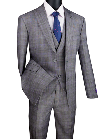Vinci Modern Fit Glen Plaid 2 Button Peak Lapel 3 Piece Suit (Gray) MV2W-1
