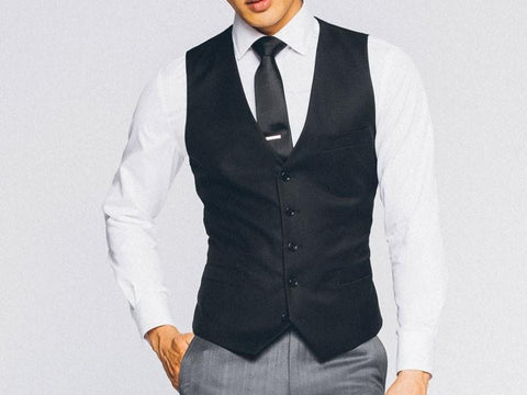 Vinci Slim Fit Single Breasted 5 Button Vest (Black) OV-900