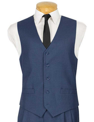 Vinci Slim Fit Single Breasted 5 Button Vest (Blue) OV-900