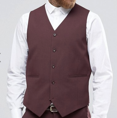 Vinci Slim Fit Single Breasted 5 Button Vest (Burgundy) OV-900