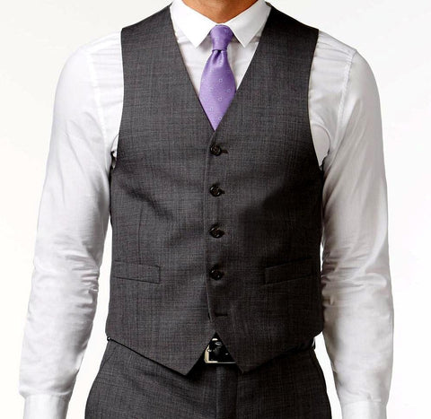 Vinci Slim Fit Single Breasted 5 Button Vest (Charcoal) OV-900