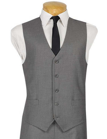 Vinci Slim Fit Single Breasted 5 Button Vest (Gray) OV-900