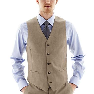 Vinci Slim Fit Single Breasted 5 Button Vest (Khaki) OV-900