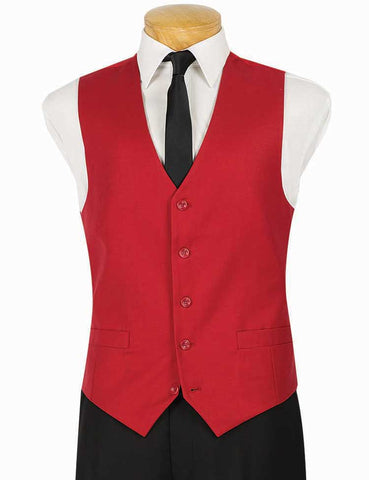Vinci Slim Fit Single Breasted 5 Button Vest (Red) OV-900