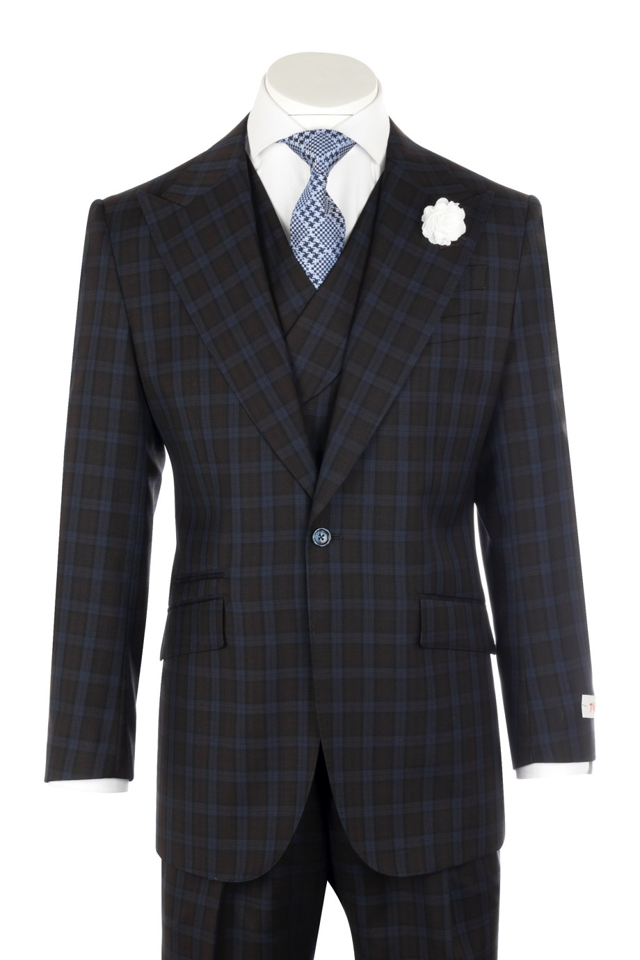 Tiglio Rosso New Rosso Brown with Blue Windowpane Wide Leg Suit R7413/3
