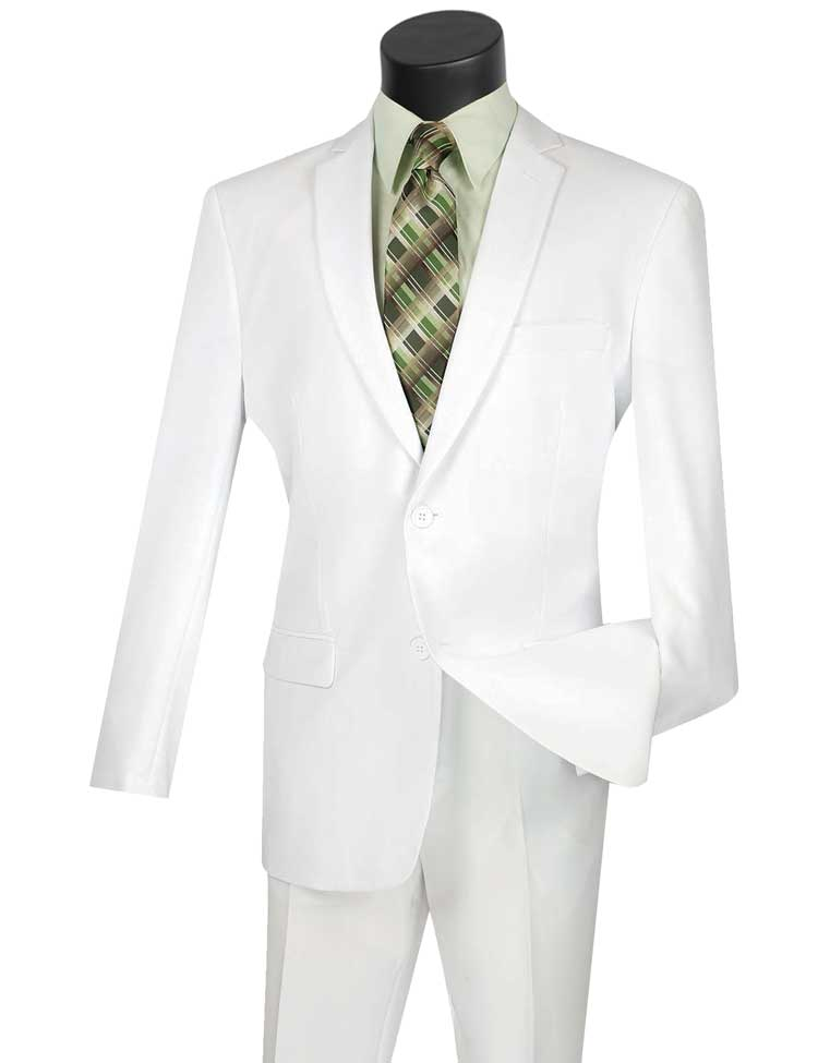 Vinci Slim Fit 2 Piece 2 Button Business Suit (White) S-2PP