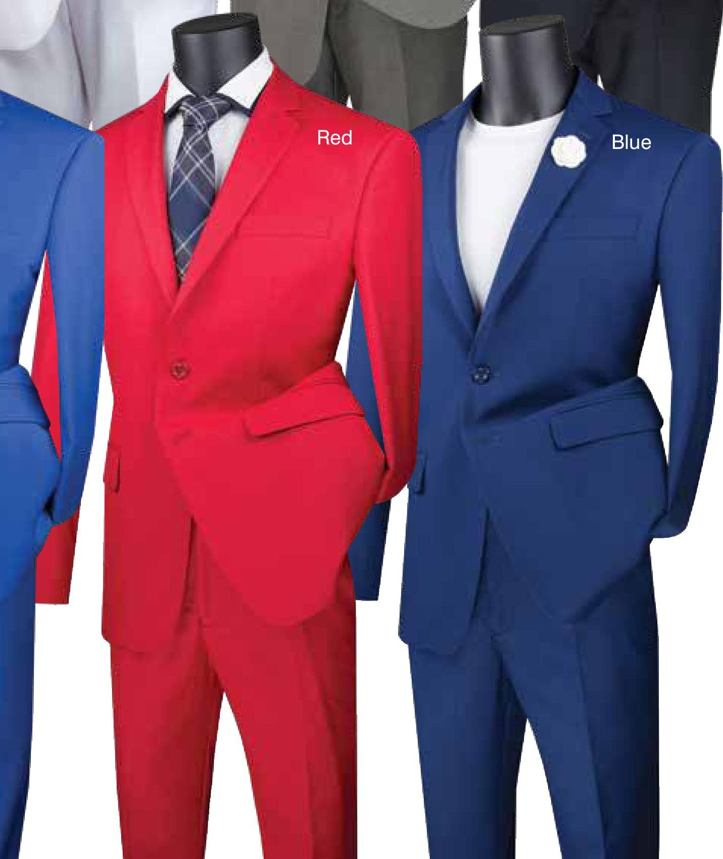 Vinci Slim Fit 2 Piece 2 Button Suit (Red | Blue) SC900-12 | B