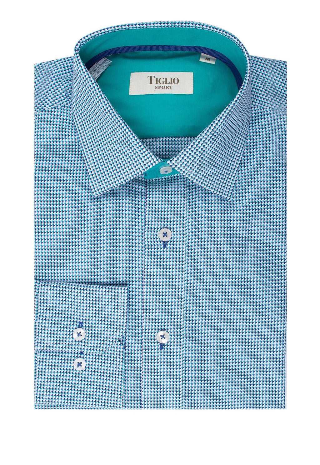 Tiglio Sport Turquoise and Navy Design Modern Fit Sport Shirt FS3419/2
