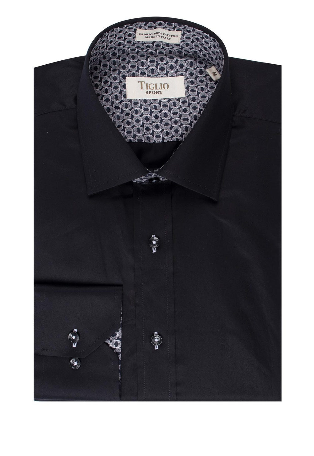 Tiglio Sport Black Sateen Modern Fit Sport Shirt 1063768