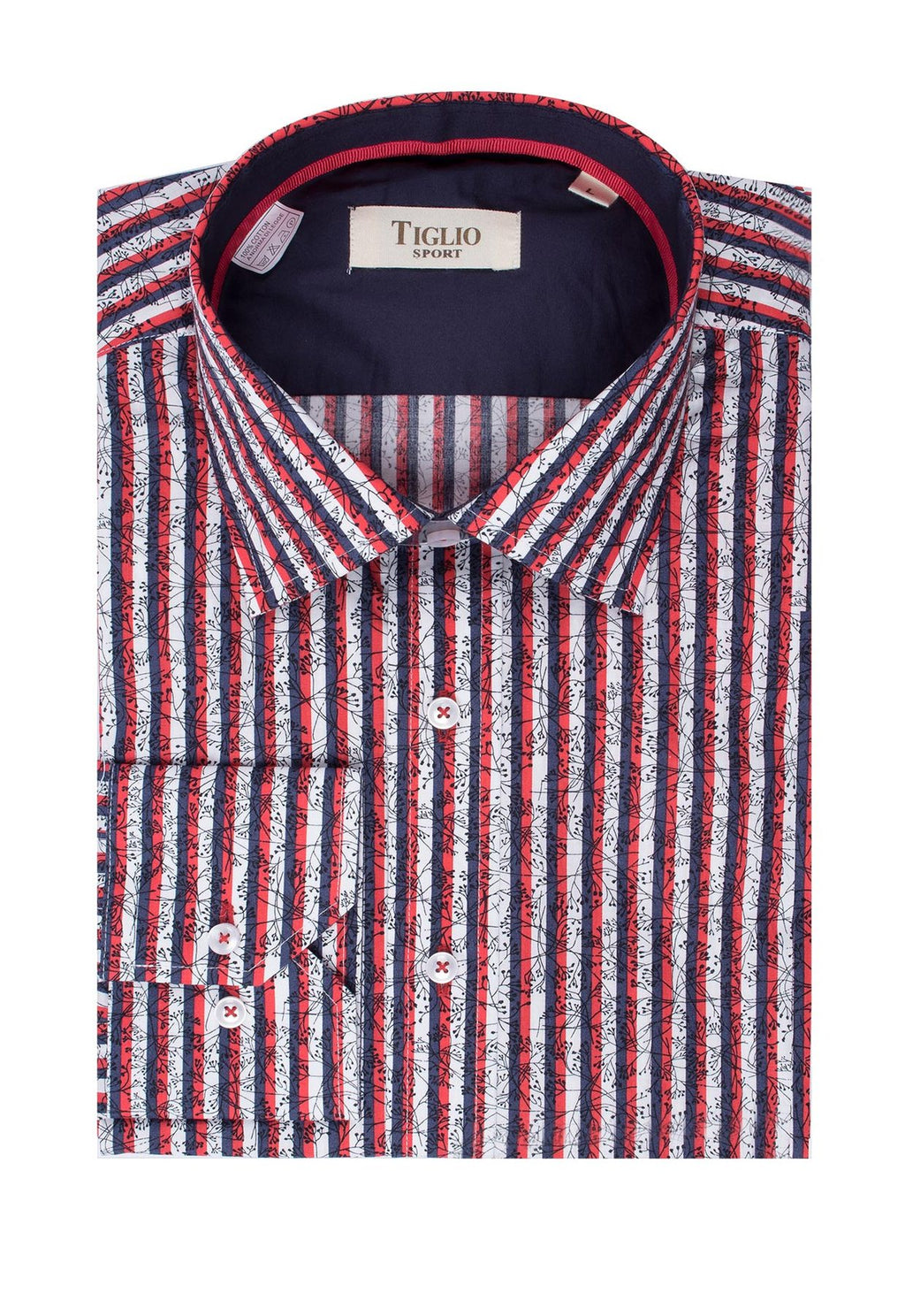Tiglio Sport Red, Navy and White Stripe with Black Floral Design Modern Fit Sport Shirt SP1003