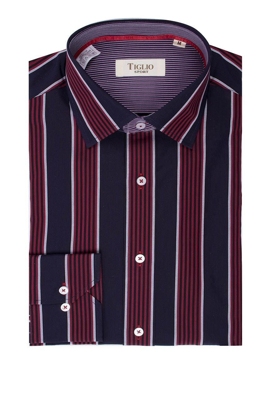 Tiglio Sport Red, Black, Grey and Navy Stripe Modern Fit Sport Shirt SP13506/1
