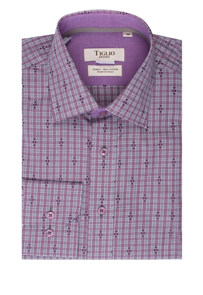 Tiglio Sport Heather Purple with Grey Check and Design Modern Fit Sport Shirt SP9025