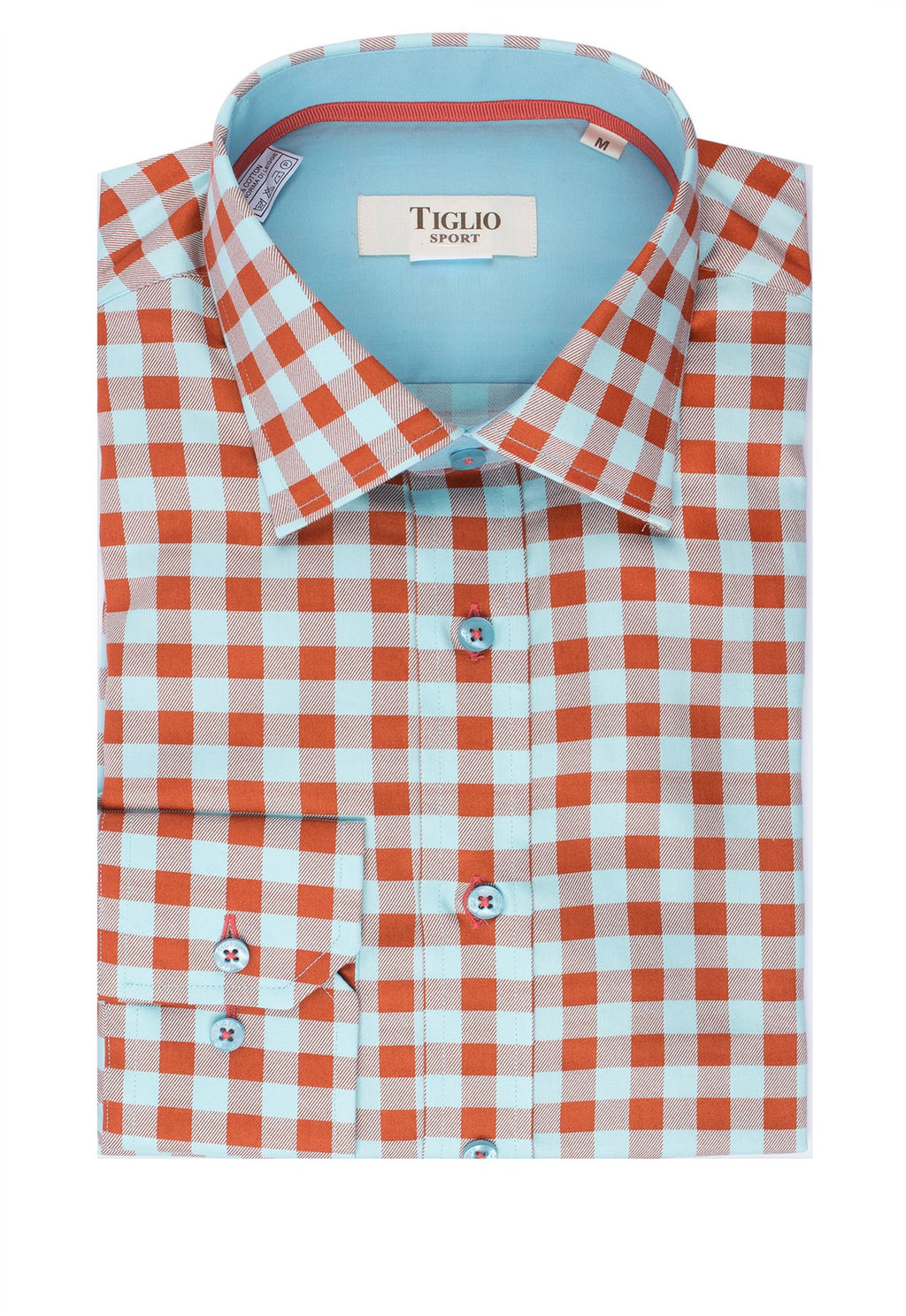 Tiglio Sport Mint Green and Orange Check Modern Fit Sport Shirt V12242