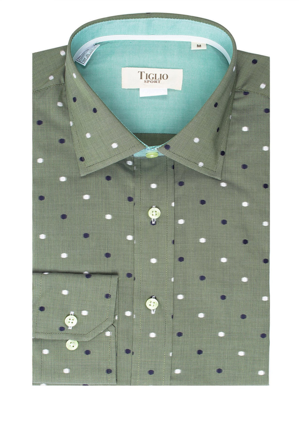 Tiglio Sport Green with Navy and White Polka-Dot Pattern Modern Fit Sport Shirt V43100