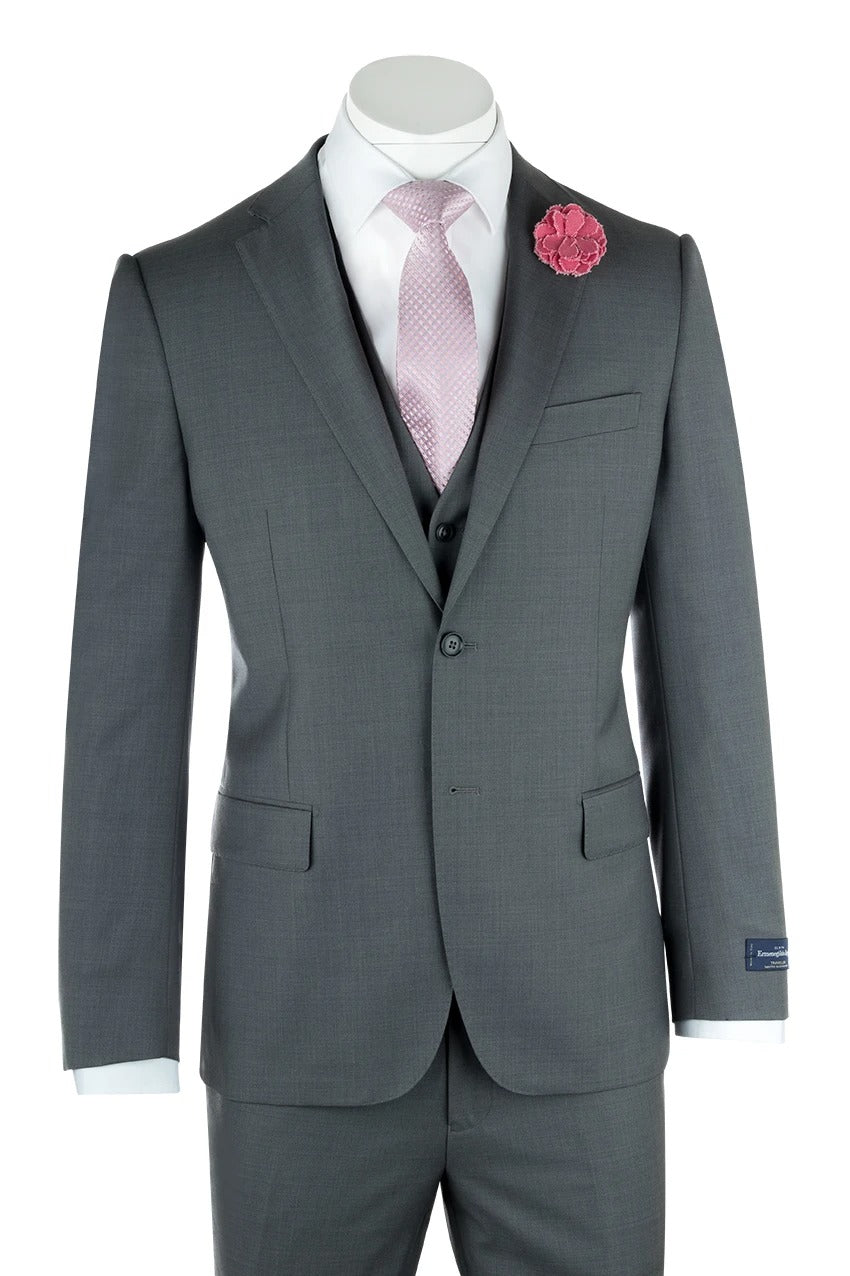 Canaletto Zegna Ermenegildo Cloth Superfine Wool Ash Gray Sangria Suit & Vest 1880U/0002