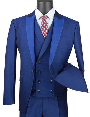 Vinci Slim Fit 3 Piece Suit 1 Button with Double Breasted Vest (Blue) SV2R-6