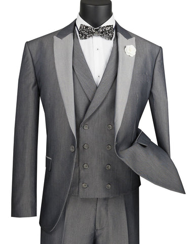 Vinci Slim Fit 3 Piece Suit 1 Button with Double Breasted Vest (Silver) SV2R-6