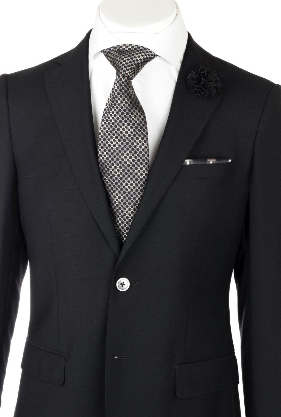 Porto Black, Slim Fit, Pure Wool Suit by Tiglio Luxe TIG1001