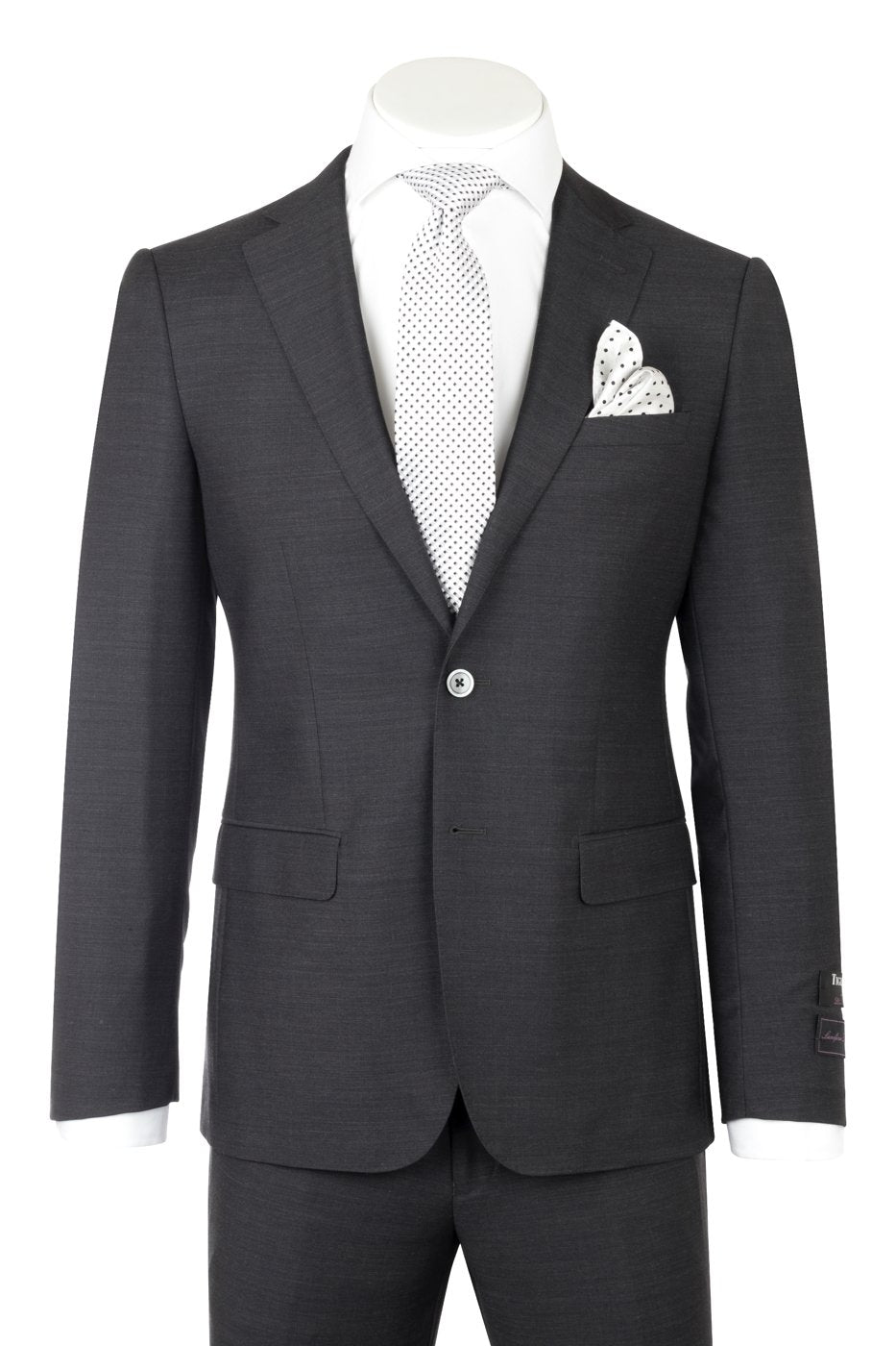 Porto Charcoal Gray, Slim Fit, Pure Wool Suit by Tiglio Luxe TIG1010