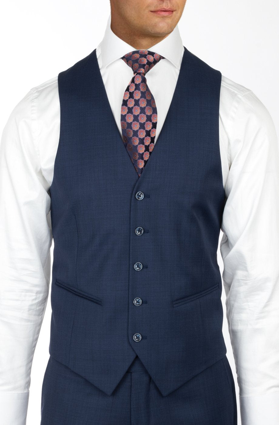 Tiglio Luxe Tufo, Modern Fit, BLUE SHARKSKIN, Pure Wool Suit & Vest TS4066/2
