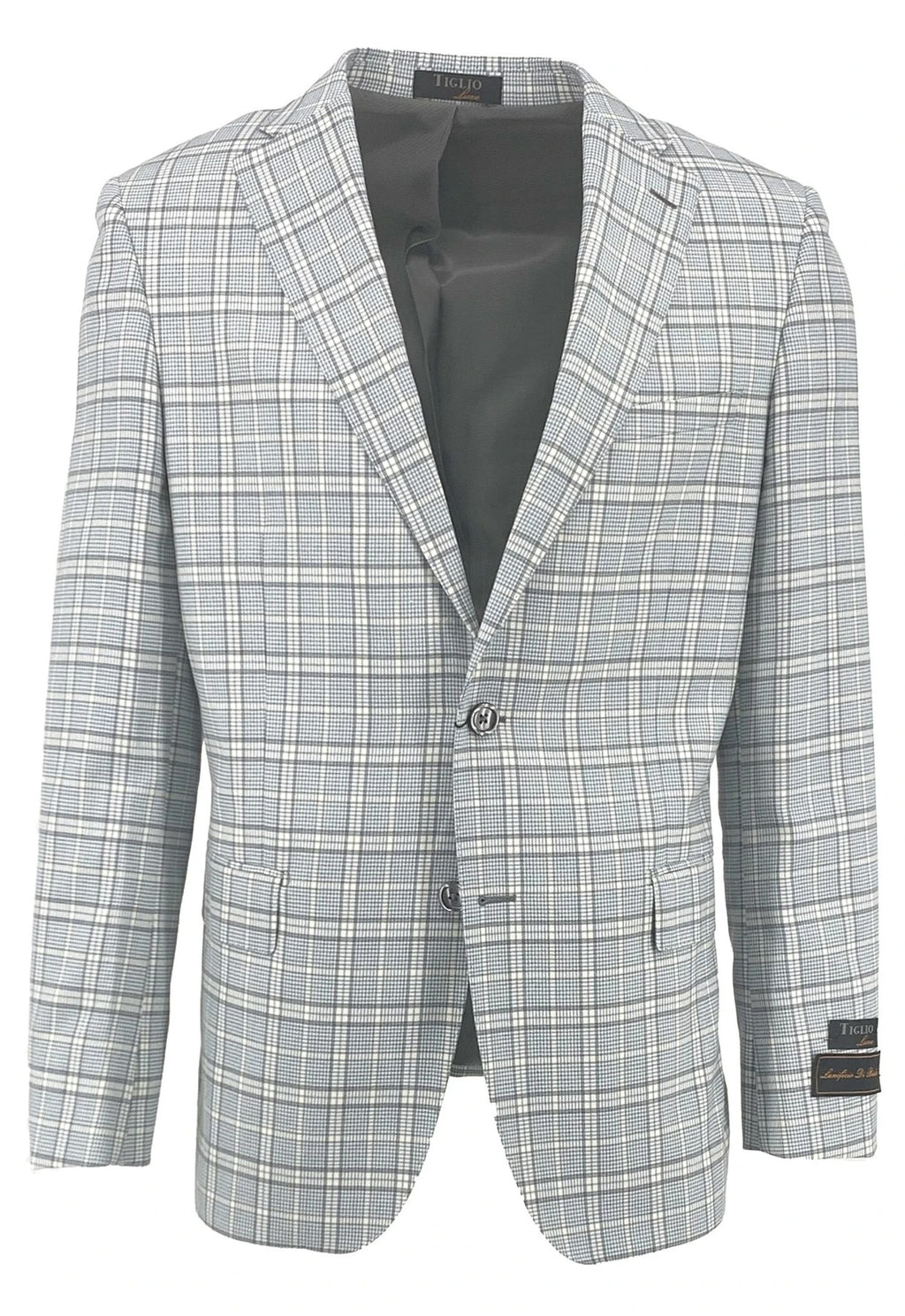 Dolcetto Light Blue Houndstooth with White Windowpane Modern Fit, Pure Wool Jacket by Tiglio Luxe CT552161