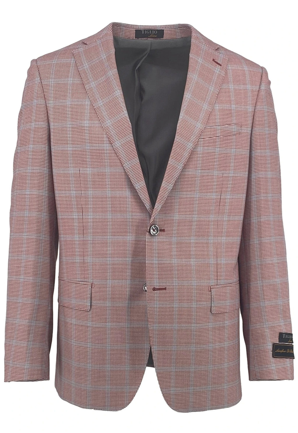 Dolcetto Red Houndstooth with Light Blue Windowpane Modern Fit, Pure Wool Jacket by Tiglio Luxe CT552455