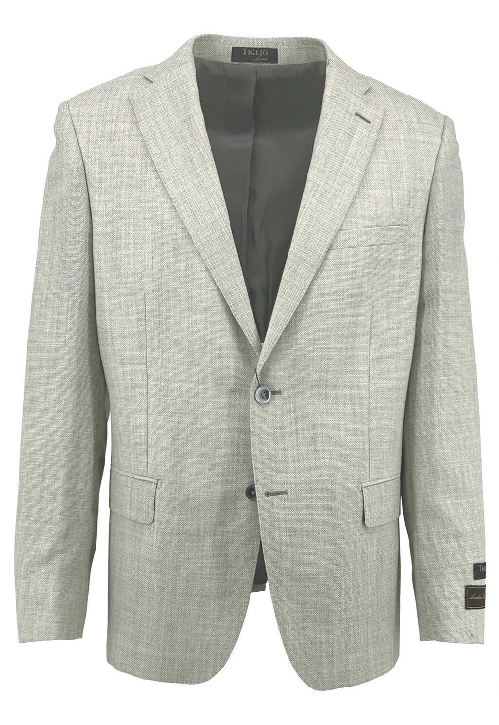 Dolcetto Oatmeal-Gray Modern Fit, Pure Wool Jacket by Tiglio Luxe TL10.712/192