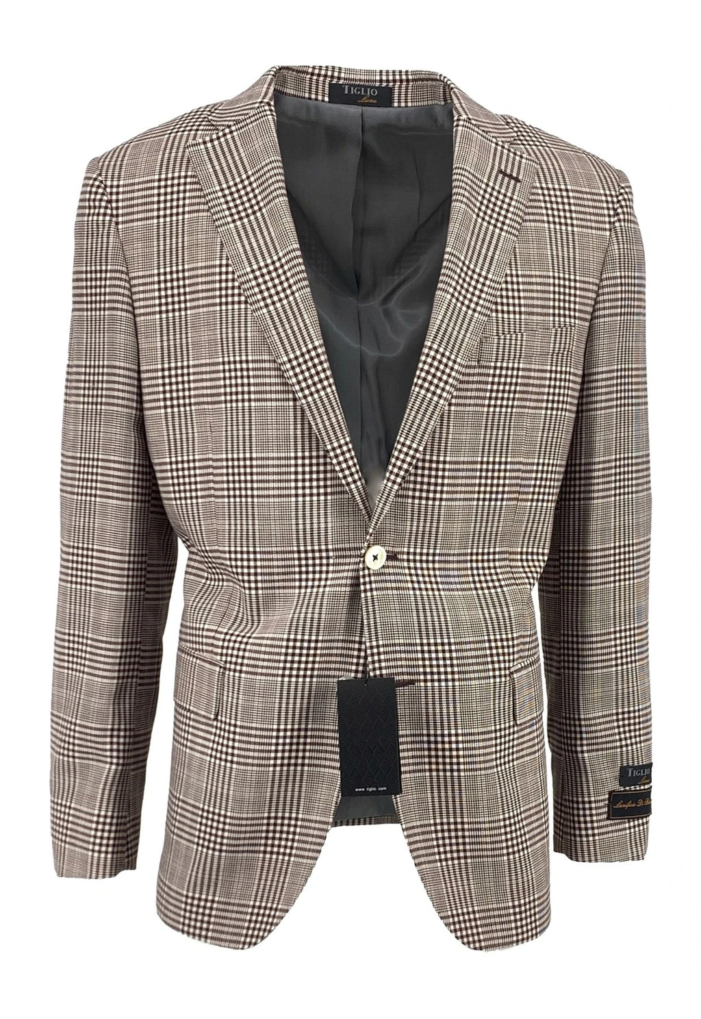 Dolcetto Cream with Burgundy Windowpane Modern Fit, Pure Wool Jacket by Tiglio Luxe TLS-59/2