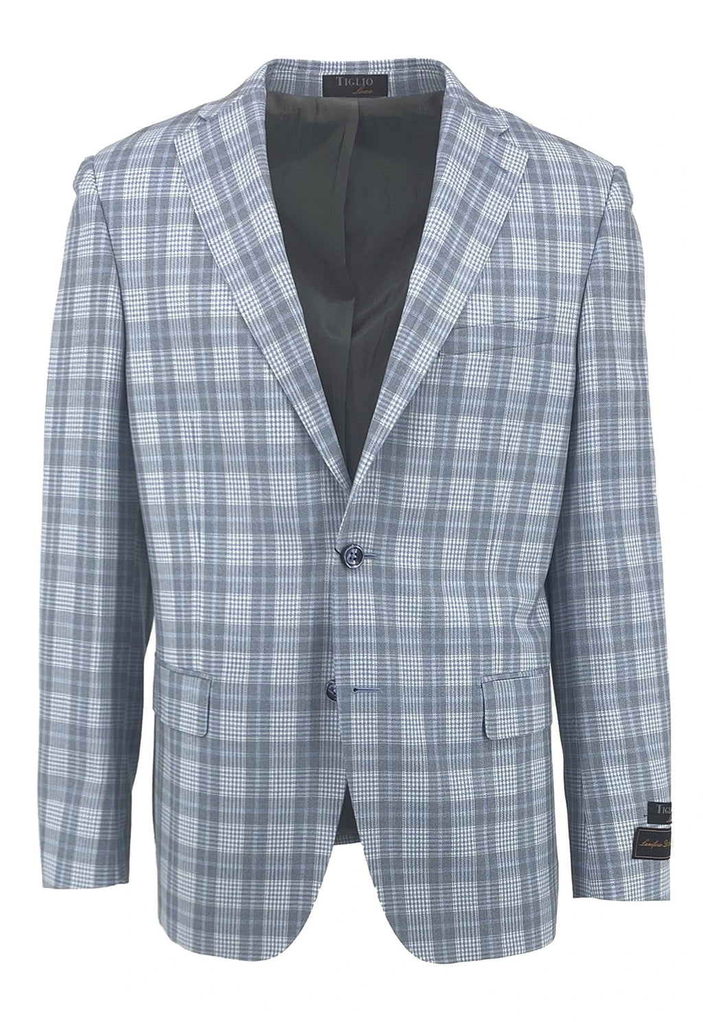 Dolcetto Light Blue with Gray and White Windowpane Modern Fit, Pure Wool Jacket by Tiglio Luxe TLS20030/1