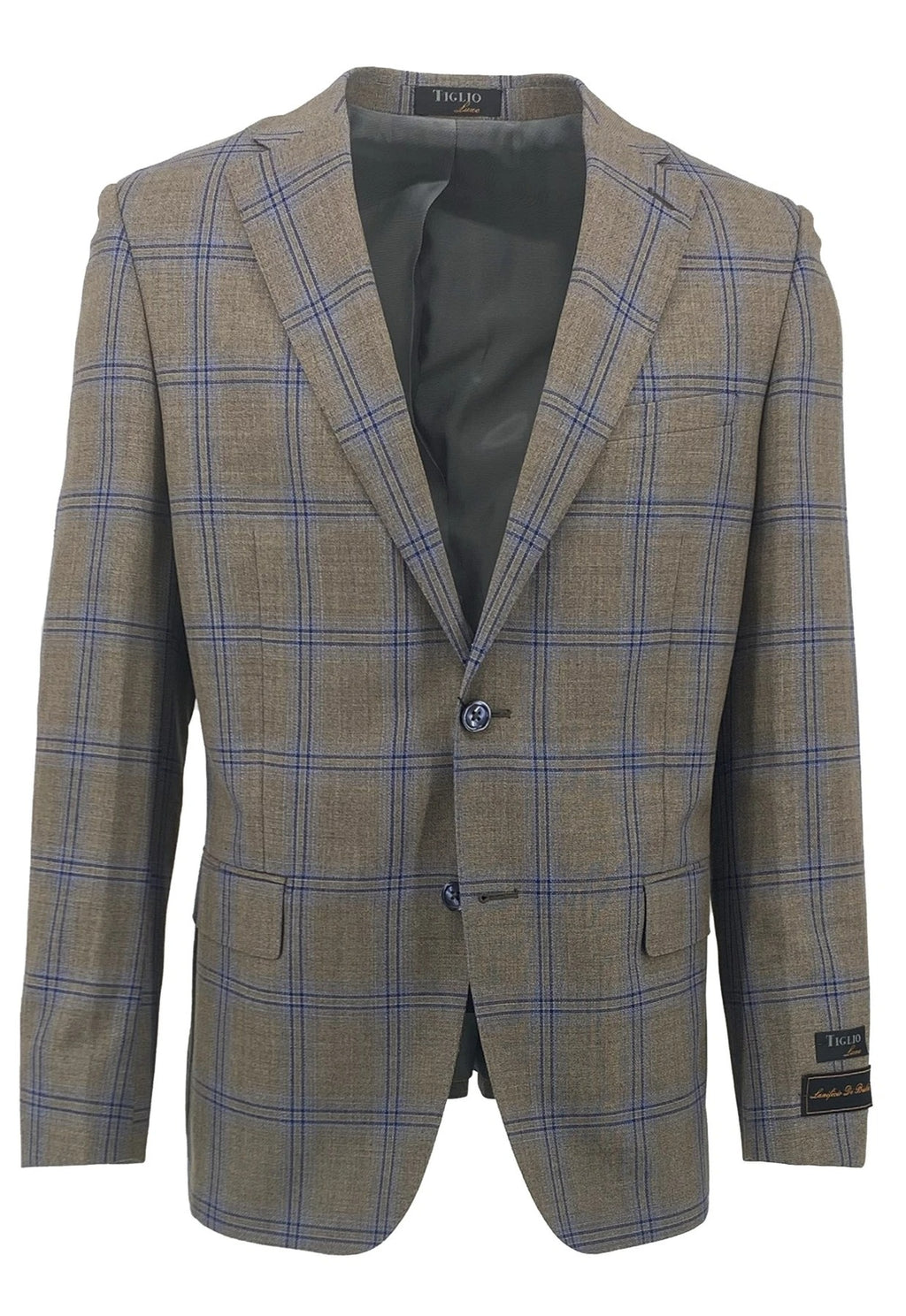 Dolcetto Taupe with Navy Windowpane Modern Fit, Pure Wool Jacket by Tiglio Luxe TLS20043/1