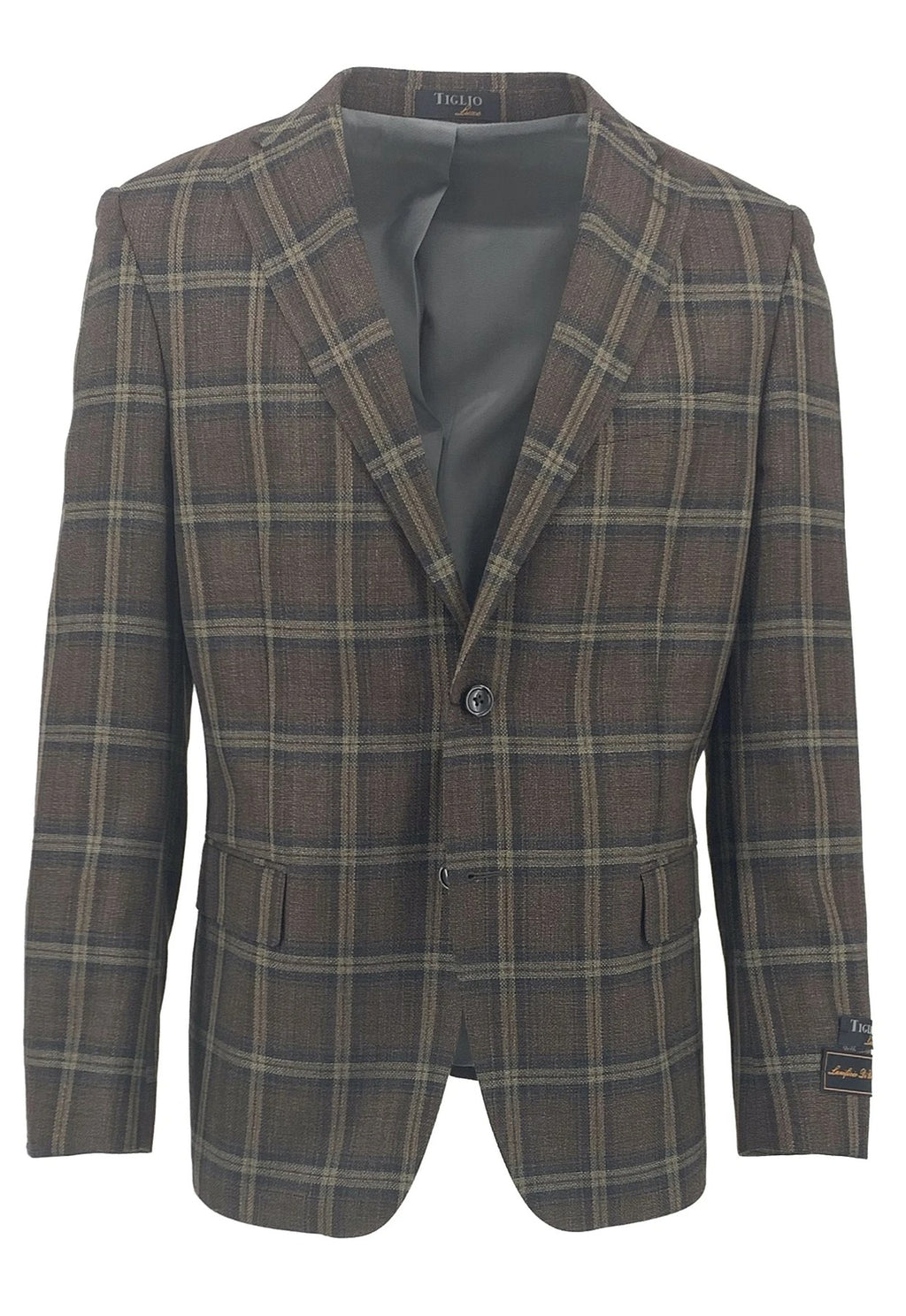 Dolcetto Brown with Taupe and Black Windowpane Modern Fit, Pure Wool Jacket by Tiglio Luxe TLS20046/1