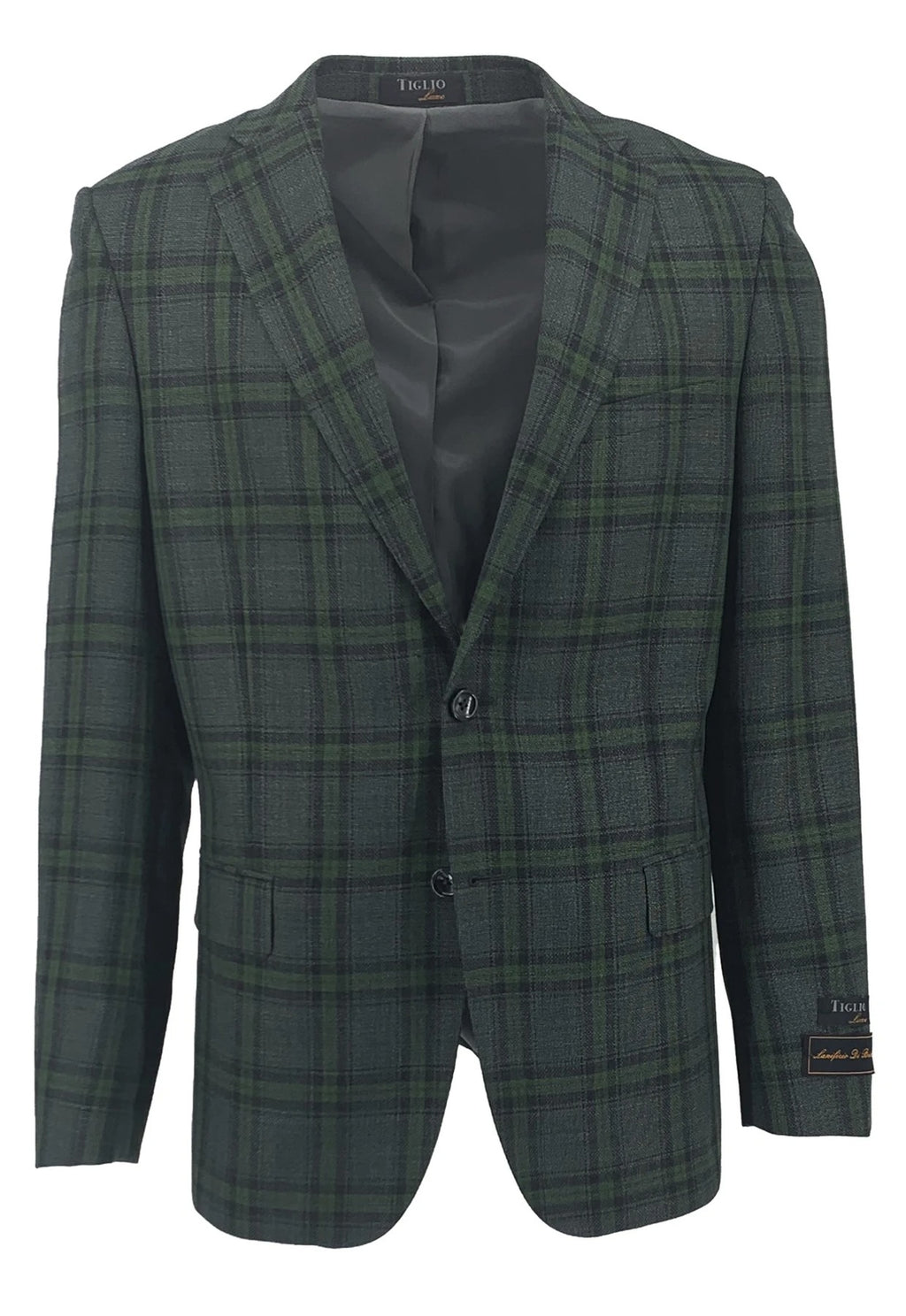 Dolcetto Sage Green with Charcoal Gray Windowpane Modern Fit, Pure Wool Jacket by Tiglio Luxe TLS20049/1