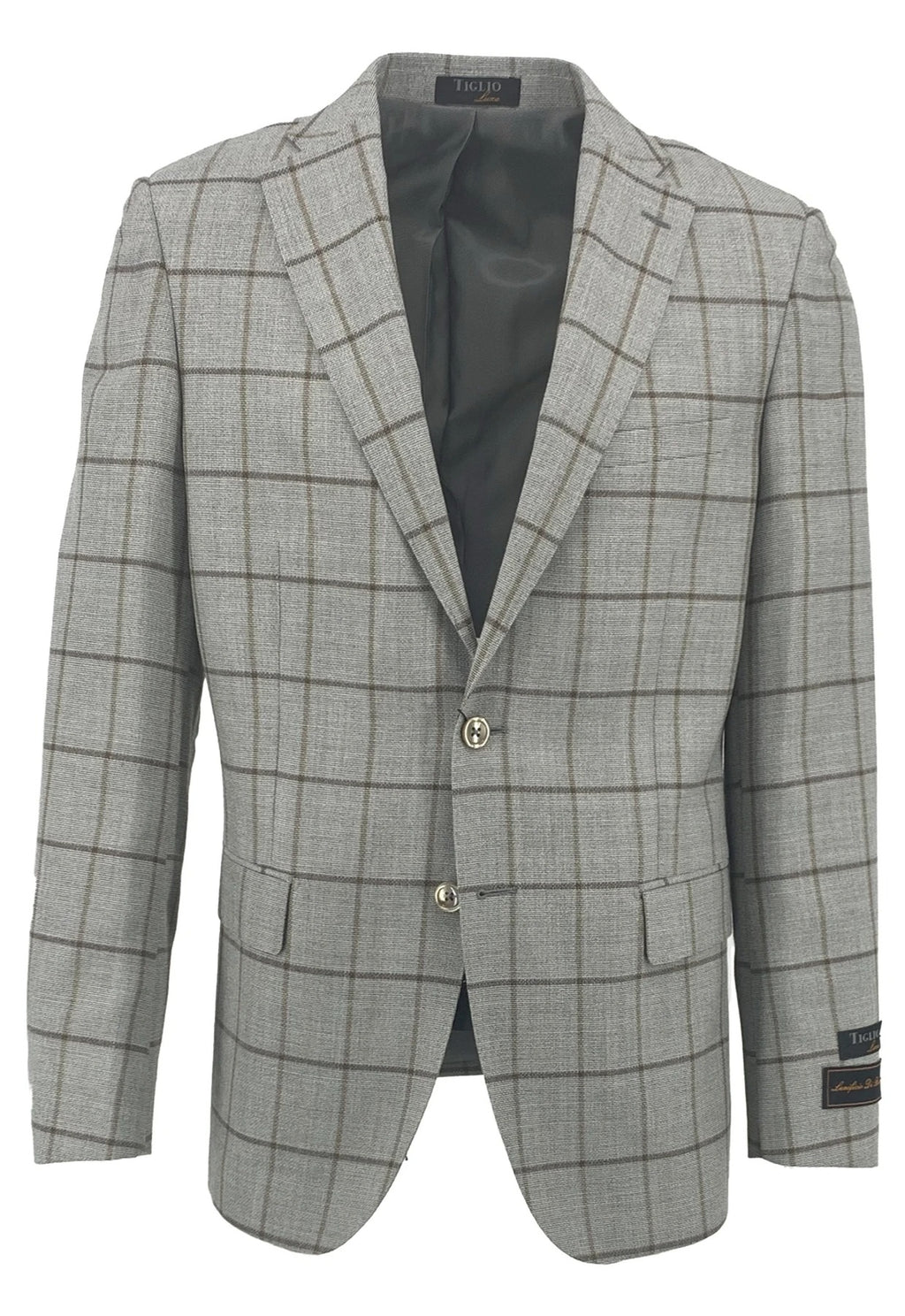 Dolcetto Gray with Carmel and Brown Windowpane Modern Fit, Pure Wool Jacket by Tiglio Luxe TLS20053/1