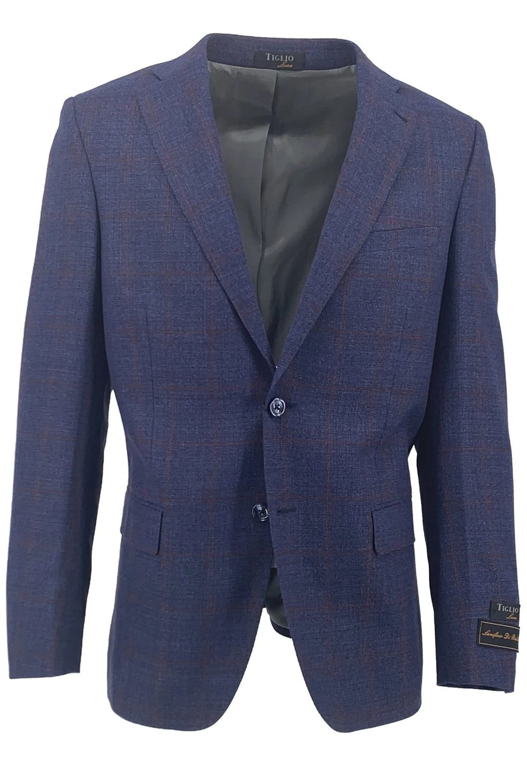 Dolcetto Navy with Red Windowpane Modern Fit, Pure Wool Jacket by Tiglio Luxe TLS20056/1