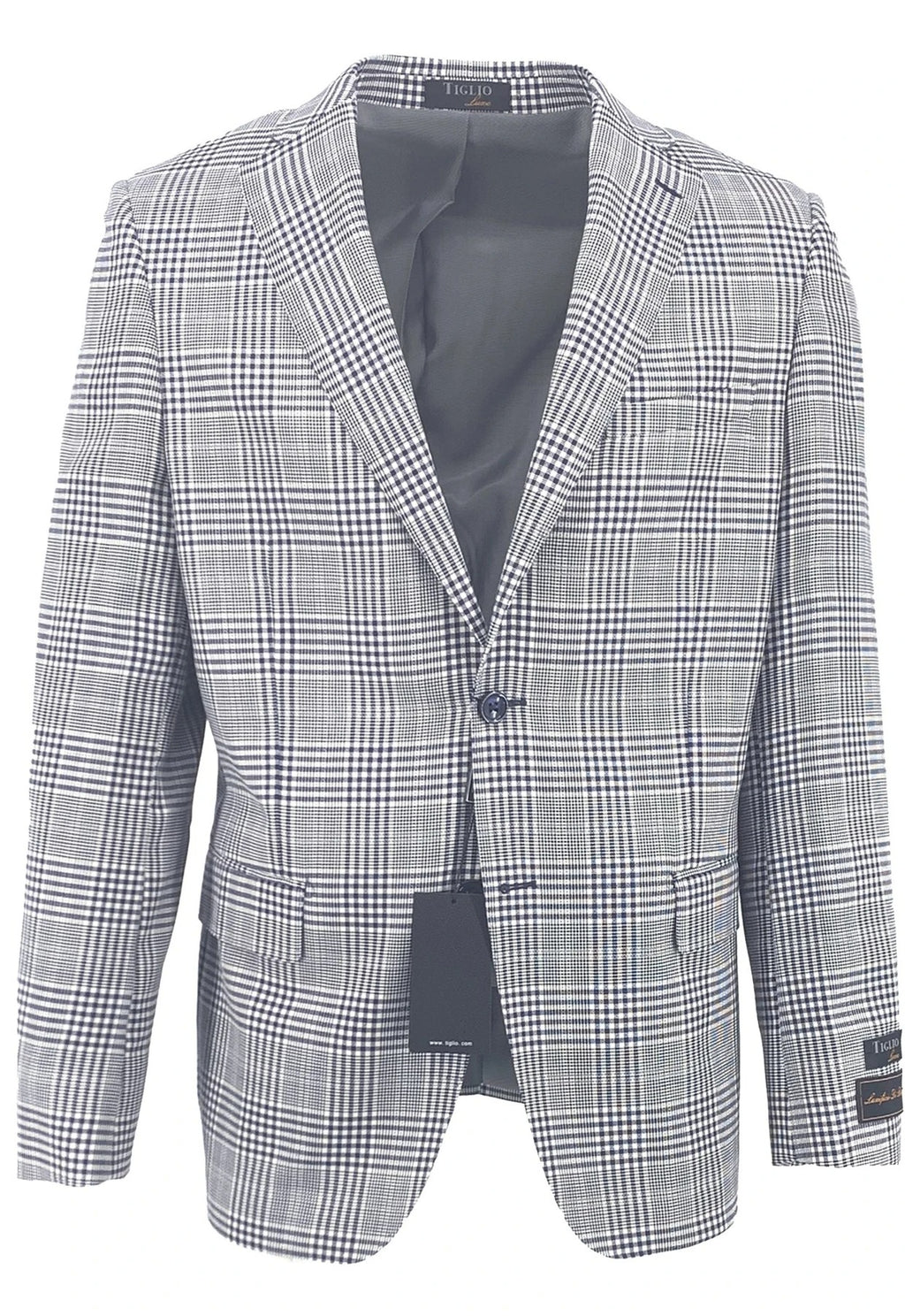 Dolcetto Navy Houndstooth and Windowpane Modern Fit, Pure Wool Jacket by Tiglio Luxe TLS20059/2