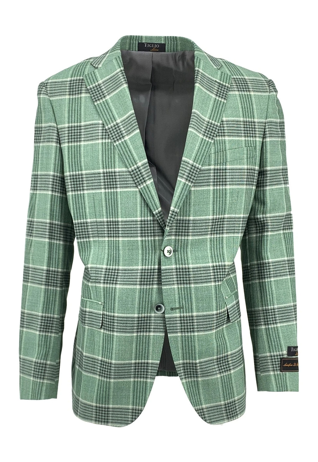 Dolcetto Green with Black and White Windowpane Modern Fit, Pure Wool Jacket by Tiglio Luxe TLS-57/2