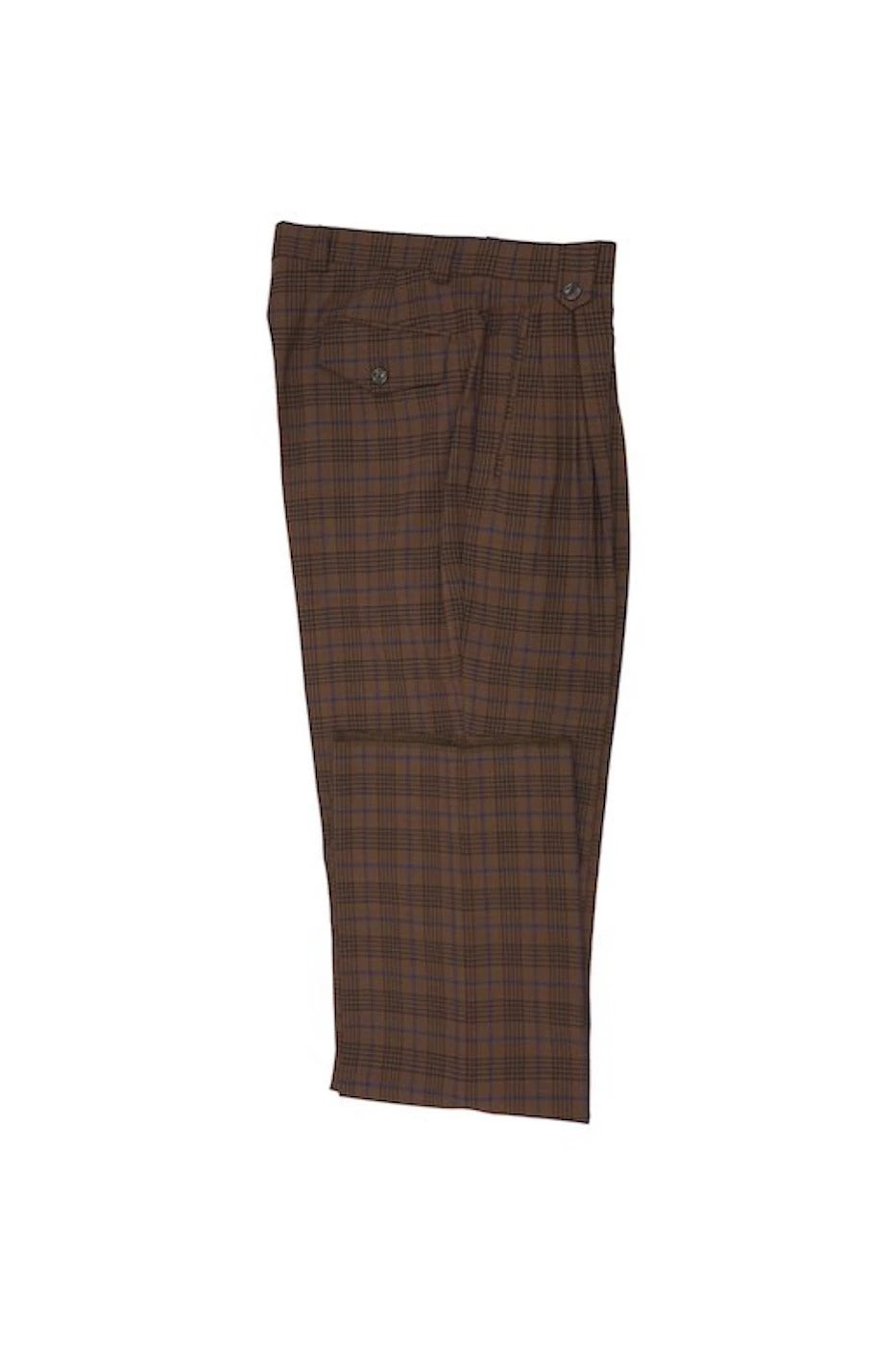 Tiglio Luxe 2576 Brick Brown with Blue Windowpane Wide Leg TLS20048/3