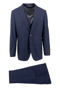 Tiglio Luxe Navy with Blue Windowpane Barbera, Modern Fit Pure Wool Suit & Vest 600/1158/3
