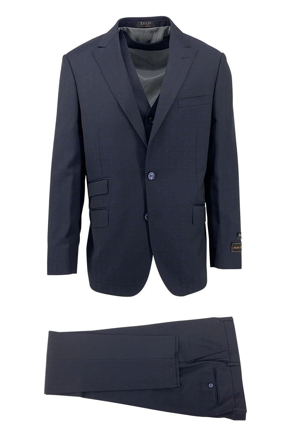 Tiglio Luxe Dark Navy with Blue Dollar Signs Design Barbera, Modern Fit Pure Wool Suit & Vest CR23410/3
