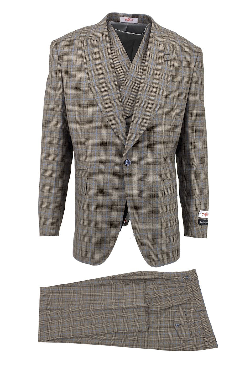 Tiglio Rosso Brown with Light Blue Windowpane New Rosso, Wide Leg Pure Wool Suit & Vest TLS20027/1
