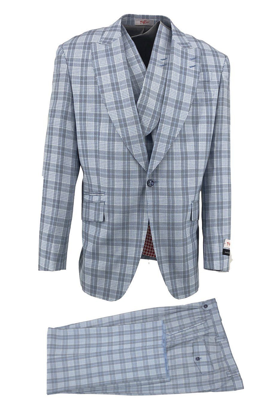 Tiglio Rosso Gray Blue with White Houndstooth New Rosso, Wide Leg Pure Wool Suit & Vest TLS20030/1