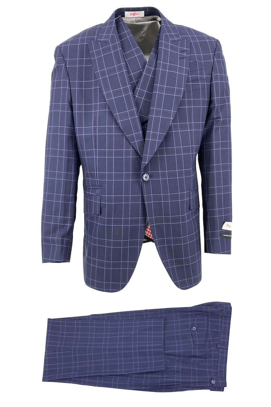 Tiglio Rosso Navy with Light Blue Windowpane New Rosso, Wide Leg Pure Wool Suit & Vest TLS20054/1