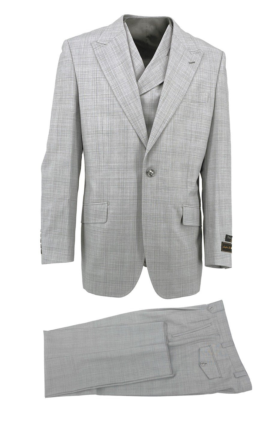 Tiglio Luxe Light Gray with Baby Blue Windowpane San Giovesse Wide Leg, Pure Wool Suit & Vest CV452531 #