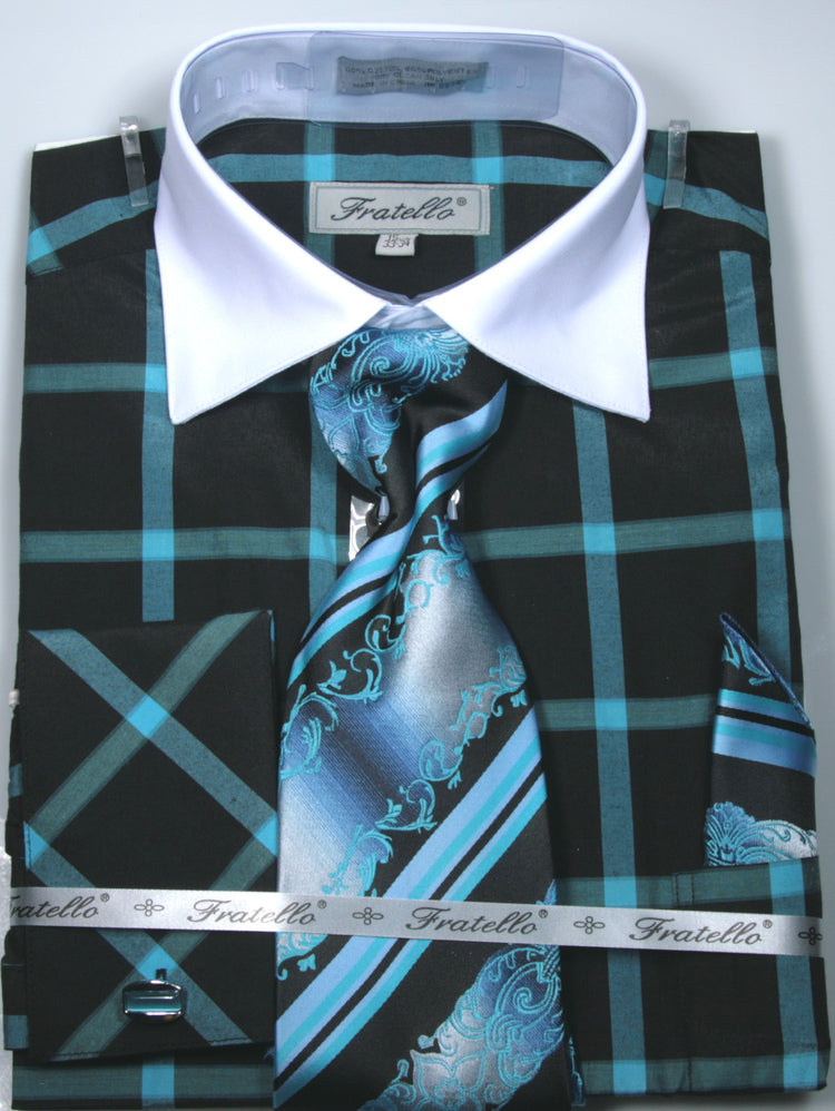 Fratello French Cuff Dress Shirt FRV4123P2 Turquoise