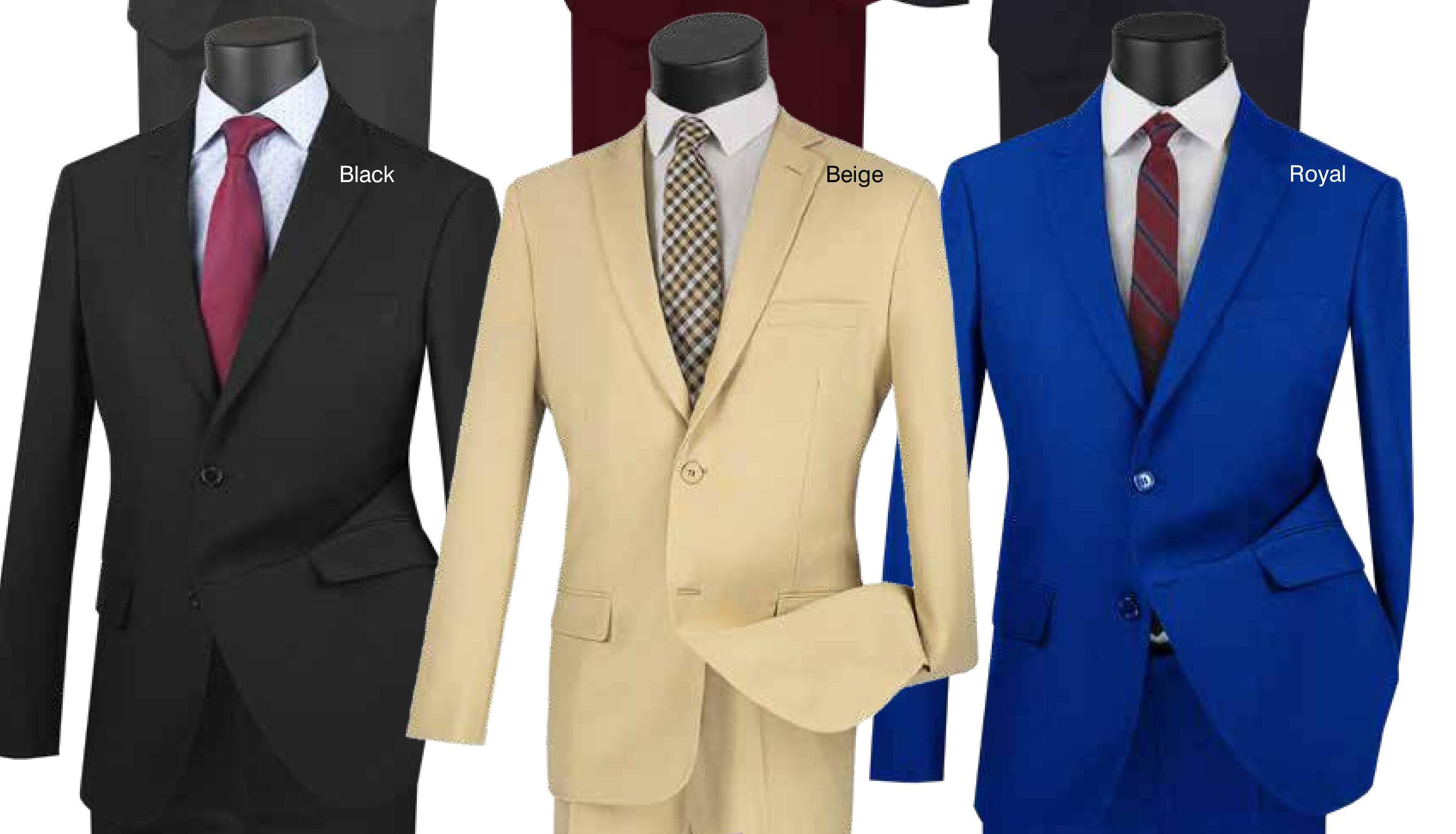 Vinci Ultra Slim Fit Single Breasted 2 Button Suit (Black | Beige | Royal) US-2PP | B